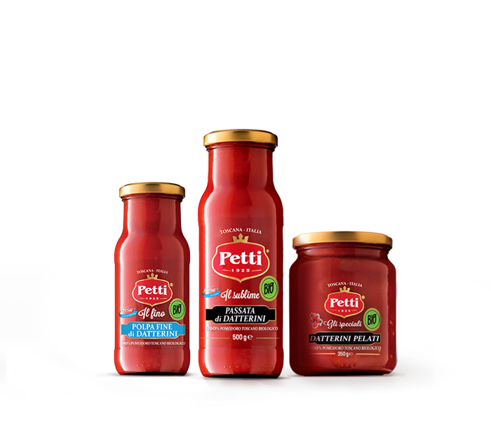 Organic Petti products: crushed tomatoes, datterini tomatoes and special datterini tomatoes