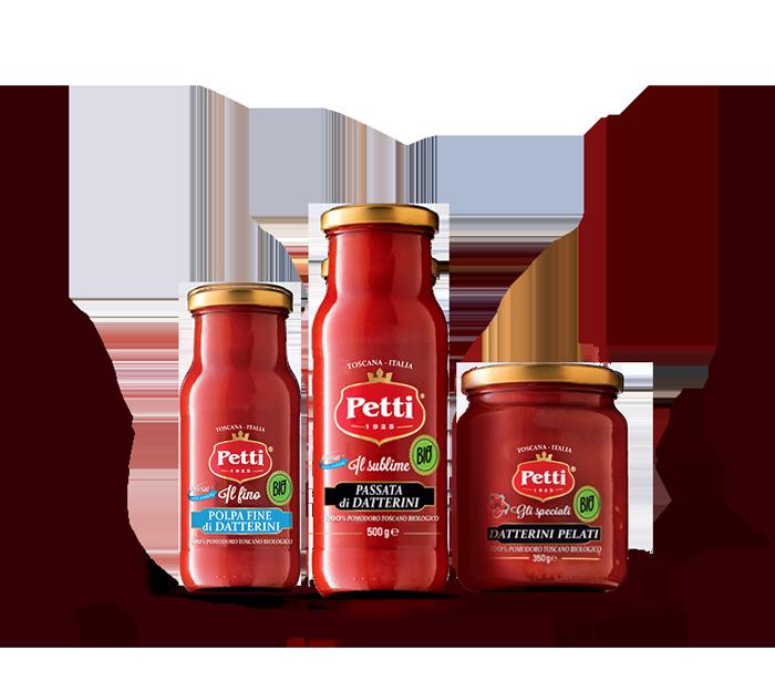 4 confezioni di Pomodoro Biologico Petti: polpa, passata di datterini e datterini pelati