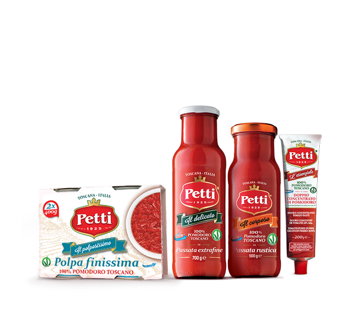 Petti Products: crushed tomatoes, rustic sieved tomatoes, extra fine sieved tomatoes and concentrated tomato paste