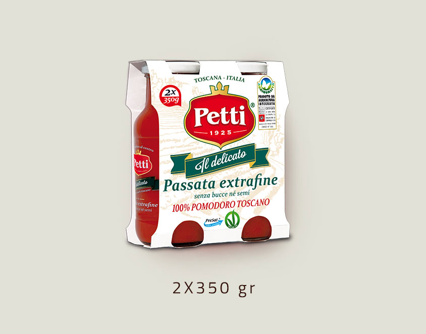 """Il Delicato"" - Extra fine sieved tomatoes Petti - Double 350 gr pack"