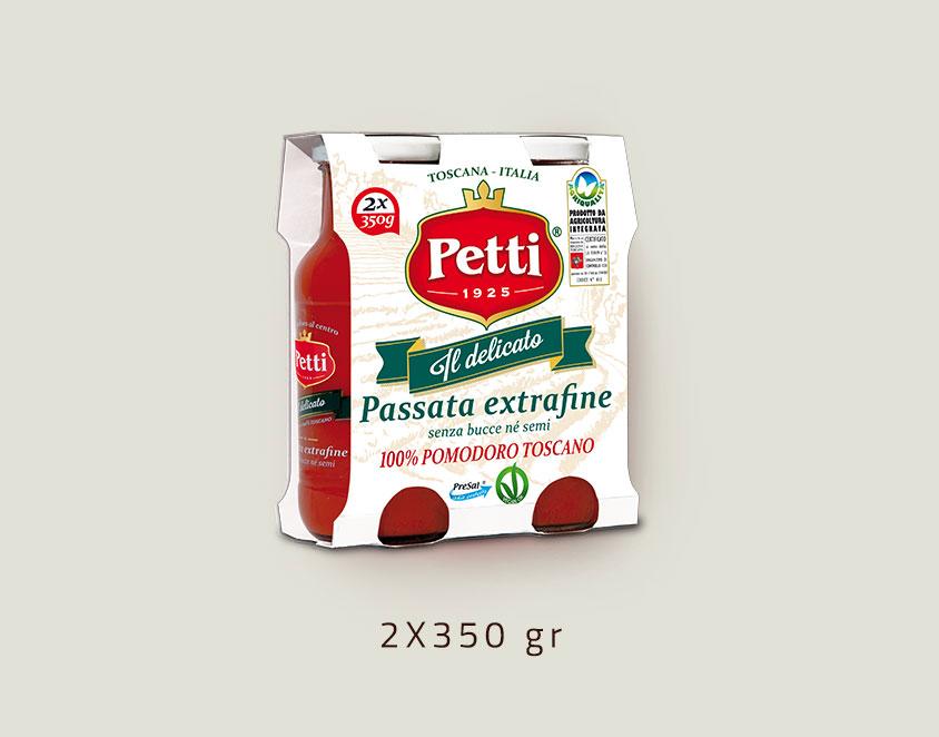 """Il Delicato"" - Extra fine sieved tomatoes Petti - Double 350 gr pack"