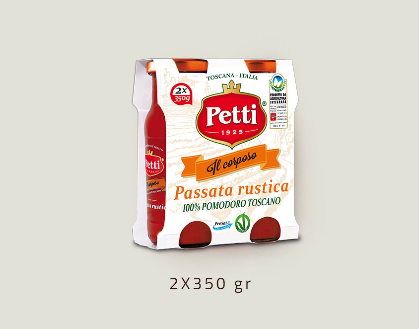 """Il Corposo"" - rustic sieved tomatoes Petti - Double 350 gr pack"
