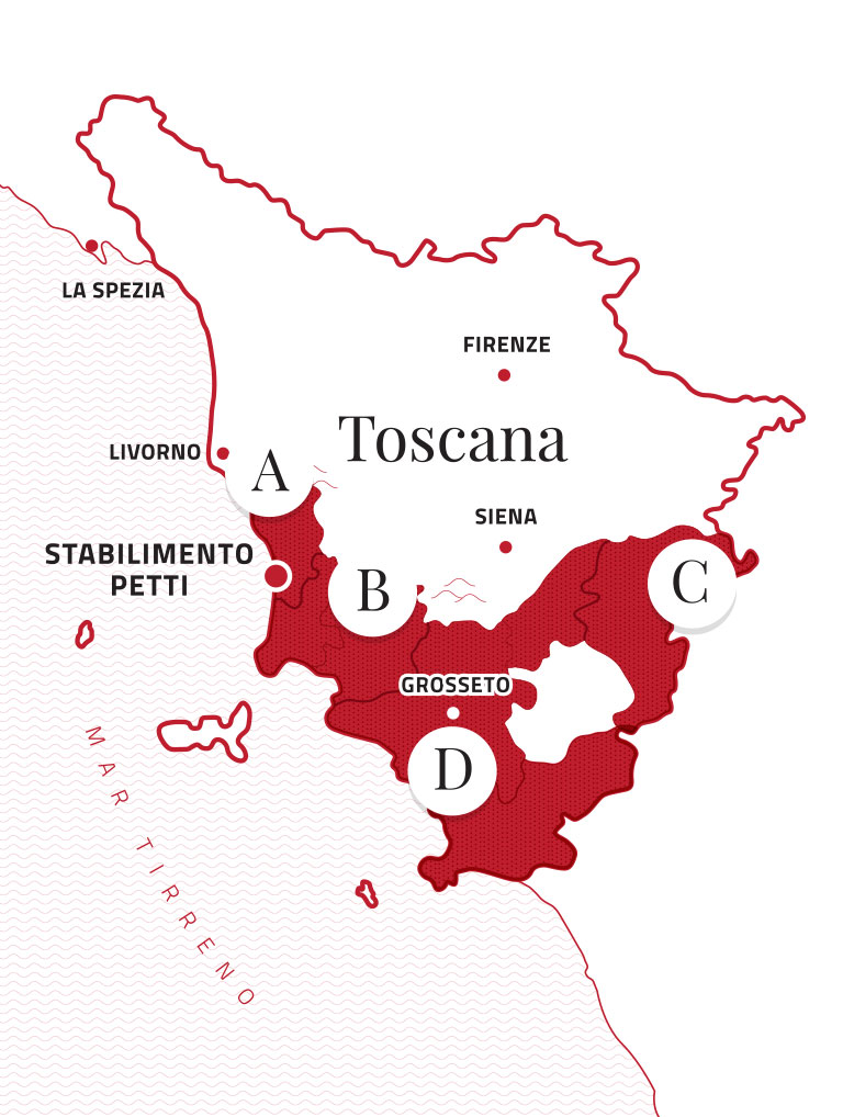 Mappa Toscana suddivisa in aree