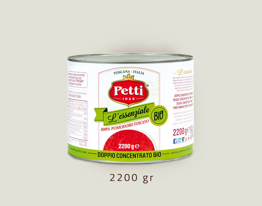 """L'Essenziale Bio"" - Petti organic double concetrated tomatoes: 2,2 kg pack"