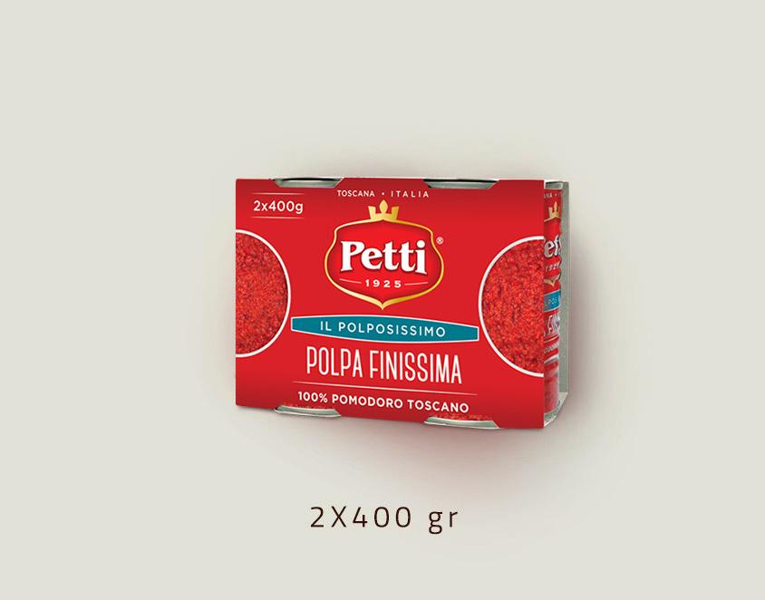 """""""Il Polpissimo""""- polpa finissima di pomodoro Petti: doppia confezione da 400 grammi"""