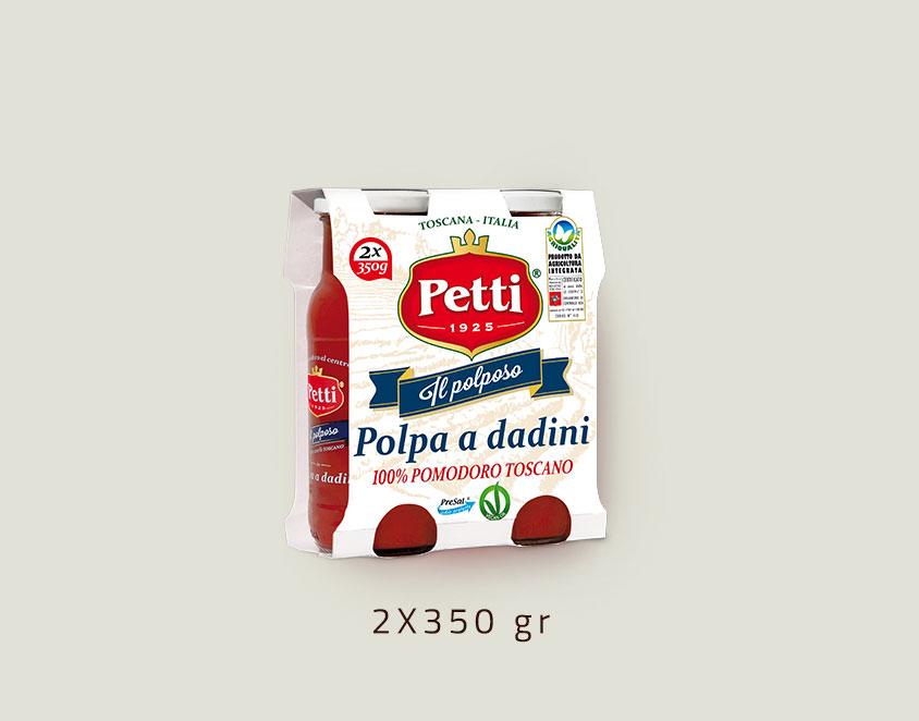 """""""Il Polposo"""" - Polpa di Pomodoro a Dadini Petti: Doppia Confezione da 400 grammi"""
