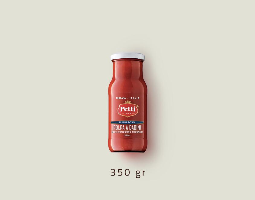 """""""Il Polposo"""" - Polpa di Pomodoro a Dadini Petti: Confezione da 350 grammi"""