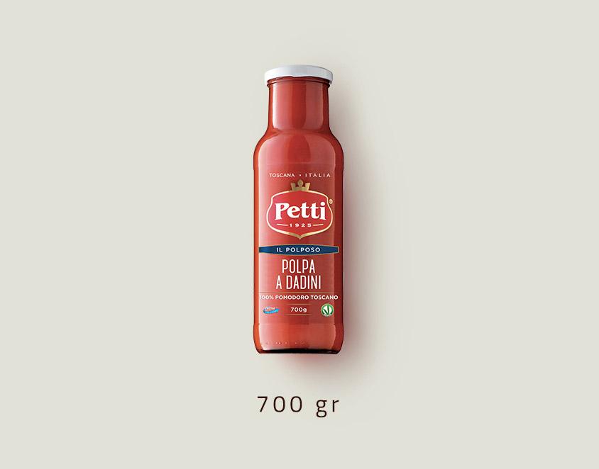 """""""Il Polposo"""" - Polpa di Pomodoro a Dadini Petti: Confezione da 700 grammi"""