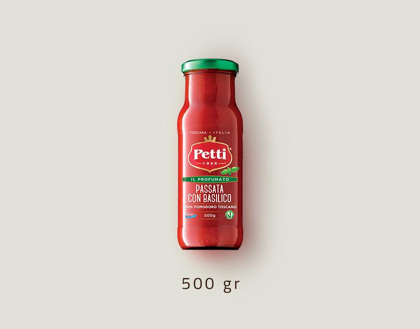 """""""Il profumato"""" - passata di pomodoro con basilico: confezione da 500 grammi"""