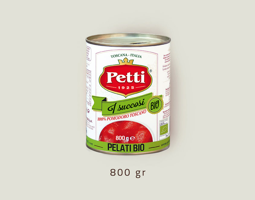 """I Succosi Bio"": Organic Petti peeled tomatoes: 800 gr pack"