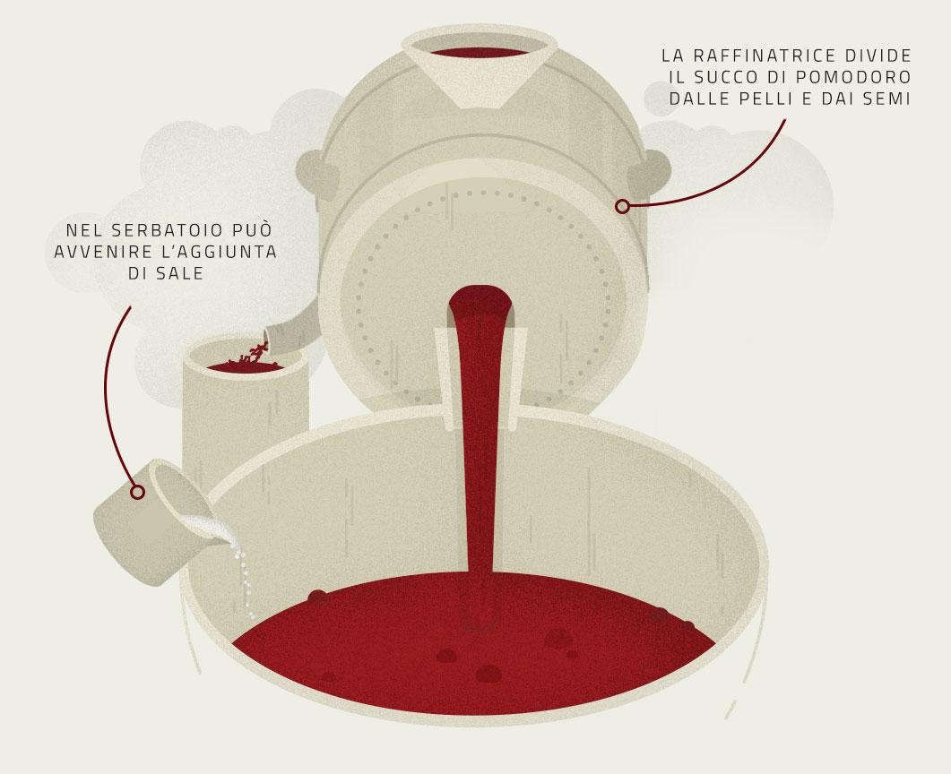 Infografica sulla sgrondatura e sulla raffinazione dei Pomodori per la produzione Petti