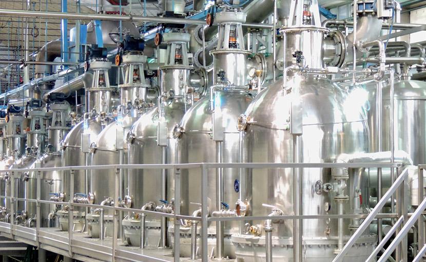 Dettaglio del palco boule di concentrazione del pomodoro per la produzione del concentrato, del doppio concentrato e del triplo concentrato di pomodoro
