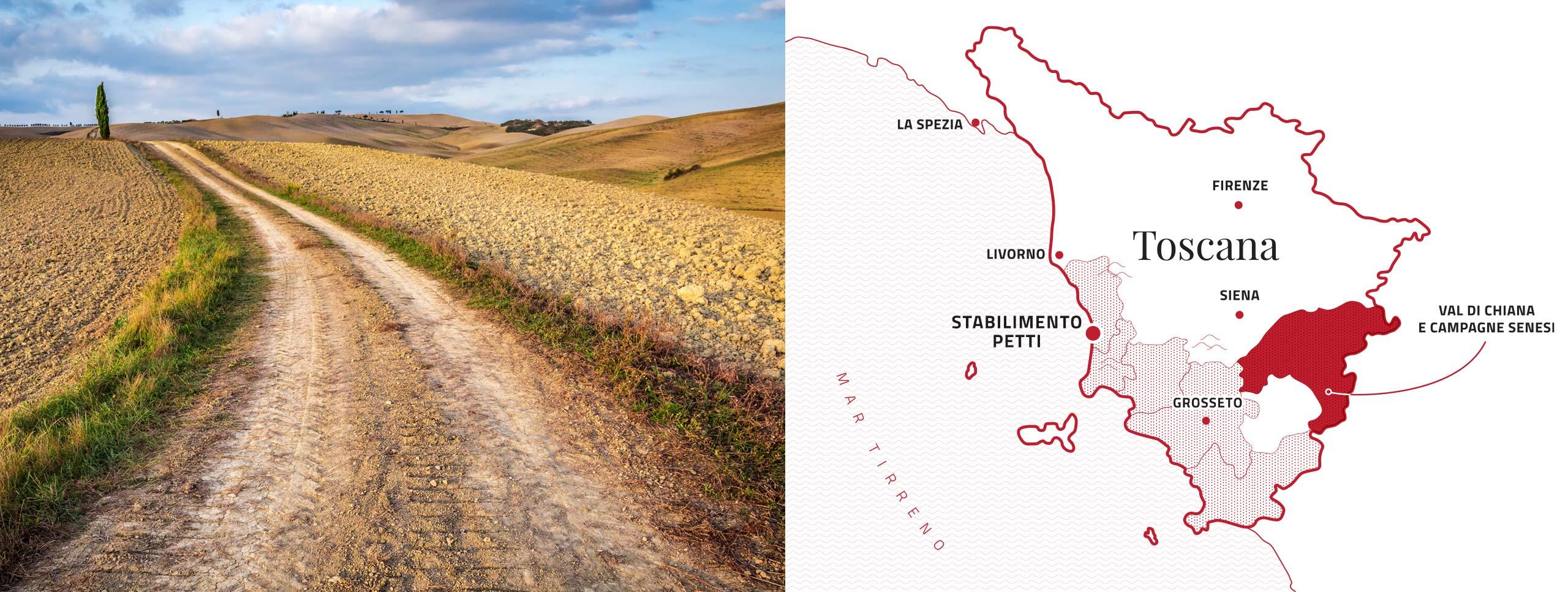 Mappa stabilimenti Petti Val di Chiana