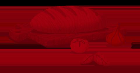 Illustrazione rossa pane e aglio